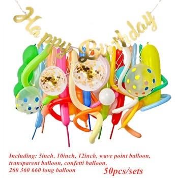 Decoración de cumpleaños para niños, tira de bandera para niños, 100 días, cuerda de globo de dibujos animados de un año, decoración de pared de fondo de Color