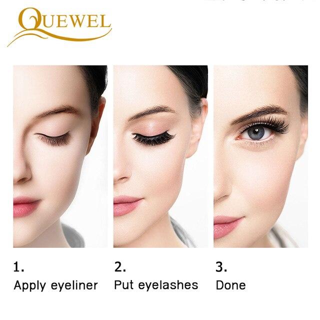 Quewel Magnetic Eyelashes Eyeliner Set 25mm False Eyelash & Magnetic Eyeliner & Tweezers 4 Pairs/Box Convenient Long Makeup Kit 4