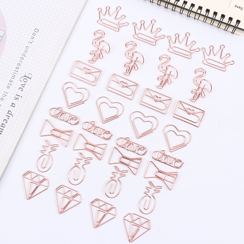 5PCS/Pack Cartoon Shape Paper Clips Kawaii Stationery Clear Binder Clips Photos Tickets Notes Letter Paper Clip Stationery