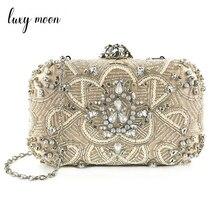 Женская вечерняя сумка клатч ручной работы, с бусинами и жемчугом, Свадебный Кошелек на цепочке, сумка через плечо, ZD1083