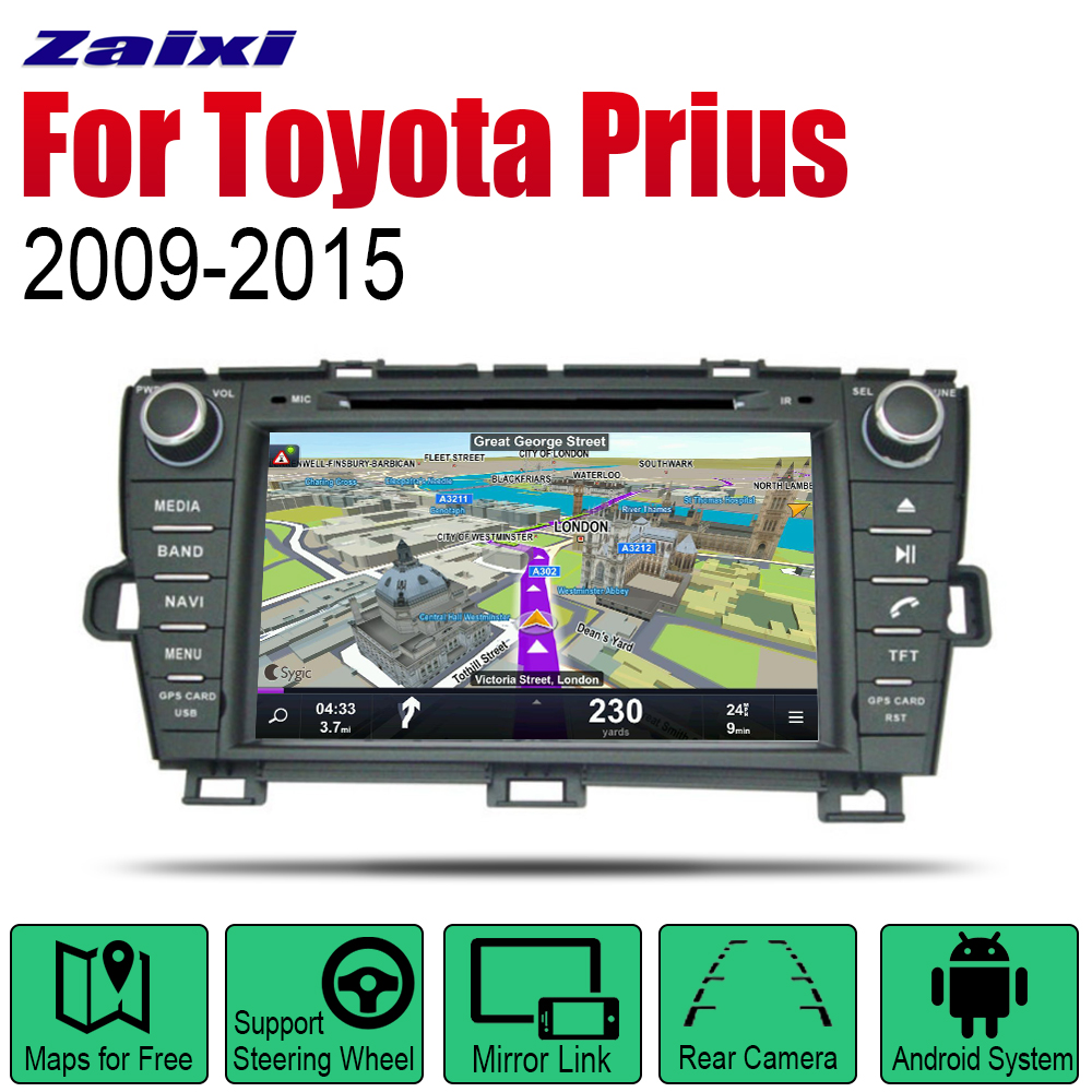 ZaiXi Android Car DVD GPS Navi for Toyota Prius 2009~2015 player Navigation WiFi Bluetooth Mulitmedia system audio stereo EQ
