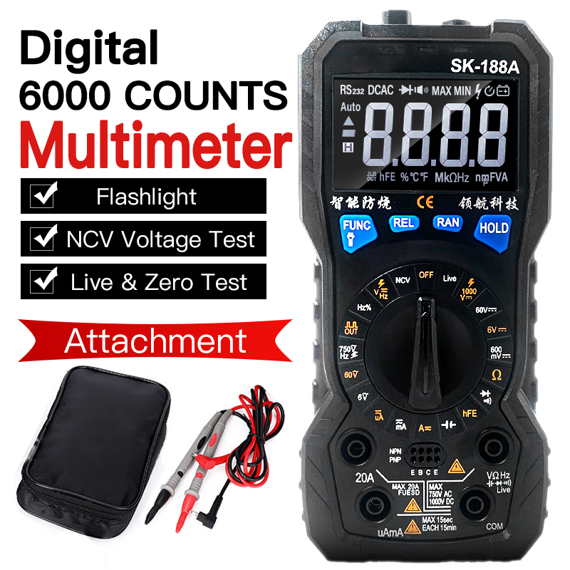 Taihom Multimeter Digital Current Tester Professional Electric Meter Auto Range Voltage Resistance Data Hold with Flashlight