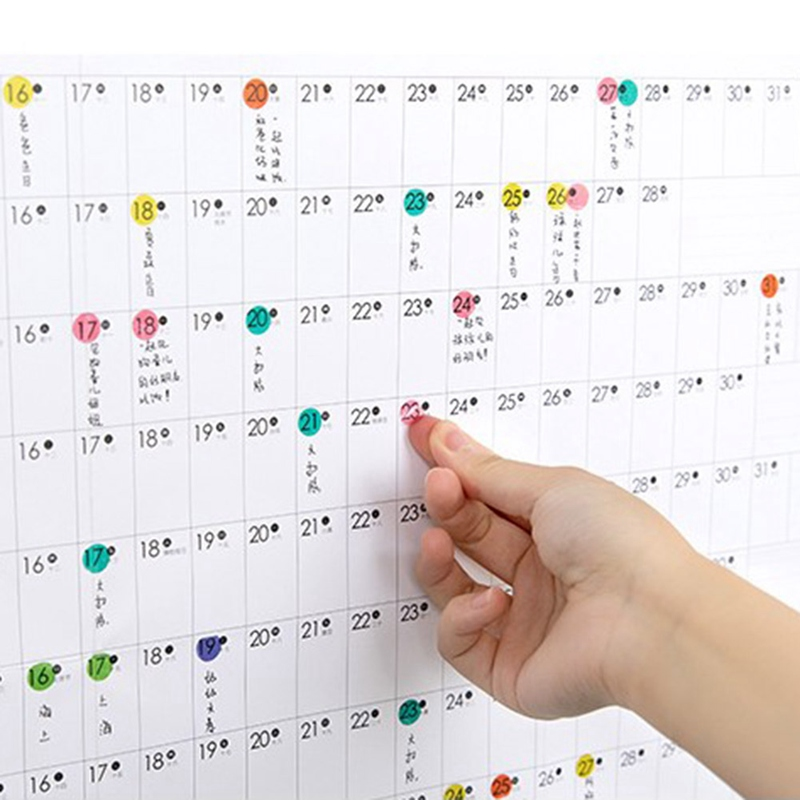 2020 Yearly Calendar Year Planner Memo Organiser Annual Schedule Daily With Sticker Dot Wall Planner Stationery Office