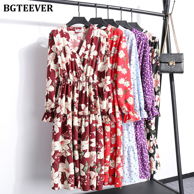 BGTEEVER Spring Summer  V-neck Floral Print Female Dress Elastic Waist Long Sleeve Women Dress A-line Midi Vestidos Femme 2020
