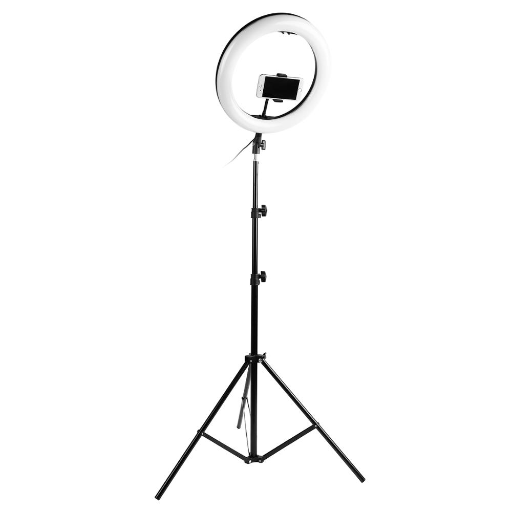 Photography LED Selfie Ring Light 14inch 336 Beads Dimmable Camera Phone Ring Lamp With 200CM Stand Tripod For Makeup Video Live in Photographic Lighting from Consumer Electronics