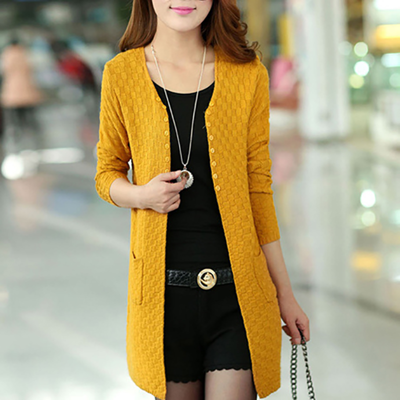 Women Solid Sweater Long Cardigan  Female Sweaters Free Shipping Fashion Summer Style Long Sleeve Thin Knitted Cardigan