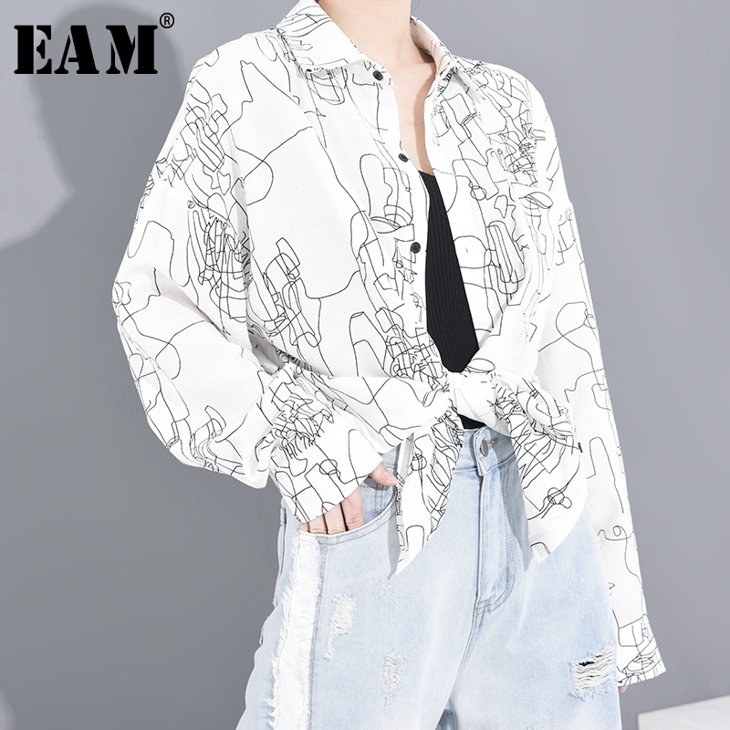 [EAM] Women White Pattern Printed Big Size Blouse New Lapel Long Sleeve Loose Fit Shirt Fashion Tide Spring Summer 2020 A641