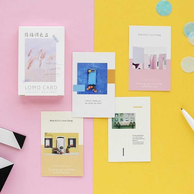28 Sheets/Set Creative Emotion Palette Series Lomo Card Mini Postcard DIY Birthday Gift Card Message Card 52*80mm