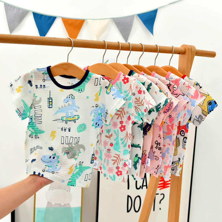 Summer Children T-shirt Cartoon Print Tops For Kids Bamboo Cotton Girls Bottom Boys Shirts Toddler Outerwear Clothing