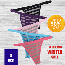 3/pcs Up To 50% Off Women 's Thongs Lady Underwear Sexy Pure Cotton Modal Good Elasticity Striped Low-rise Comfortable Briefs