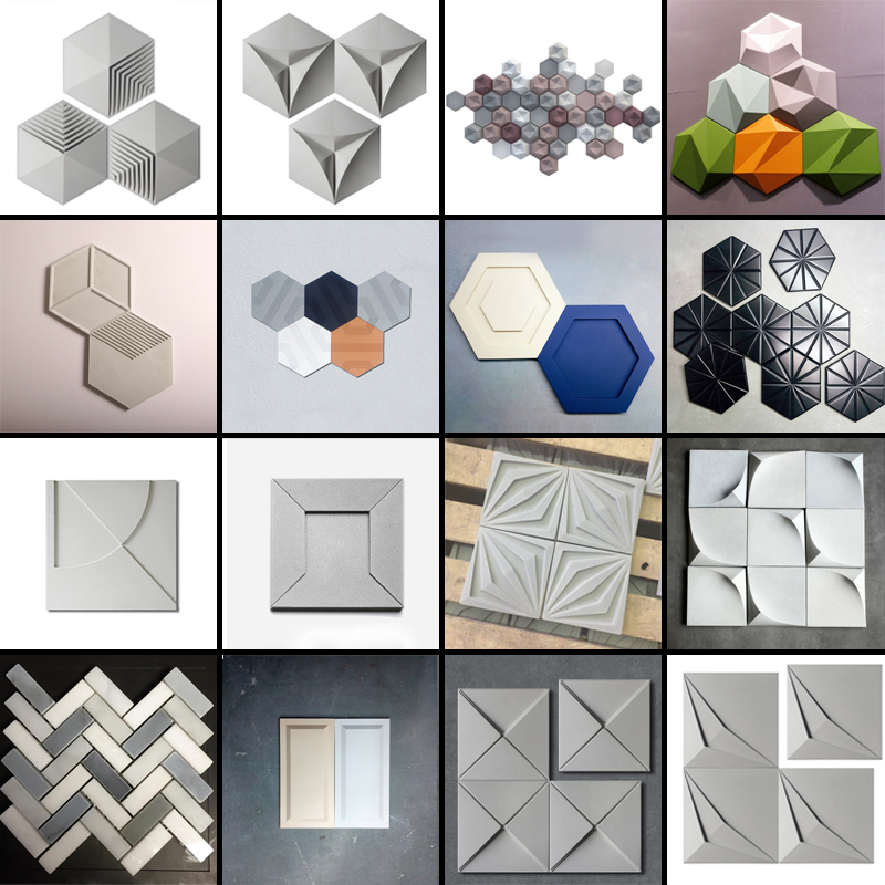 Geometric Hexagonal Texture Concrete Wall Brick Silicone Mold Creative DIY Square Cement Plaster Background Wall Mold
