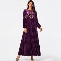 European and American fashion women's long sleeved purple embroidered bow robes Arabian gold velvet long skirt Dubai dress