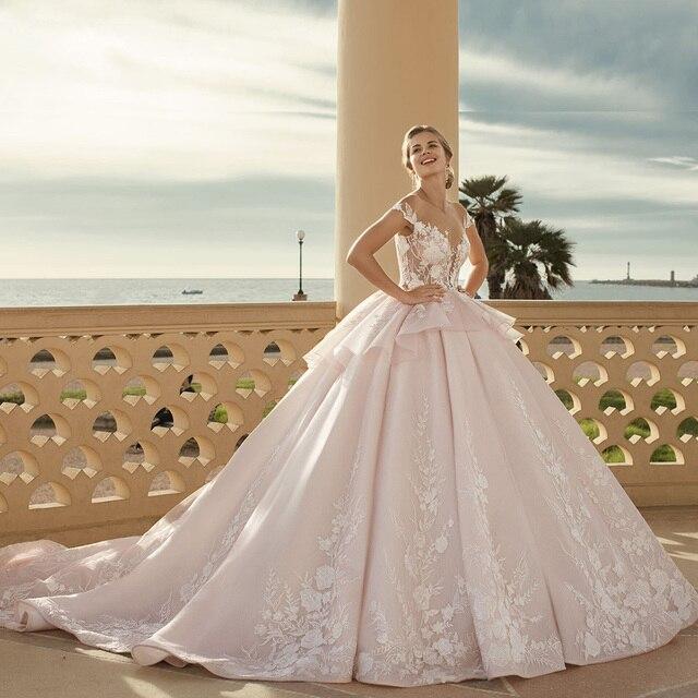 2020 Prinses Baljurk Trouwjurken Vestido De Noiva Princesa Shiny Kralen Pailletten Applicaties Lace See Through Gown Gelinlik