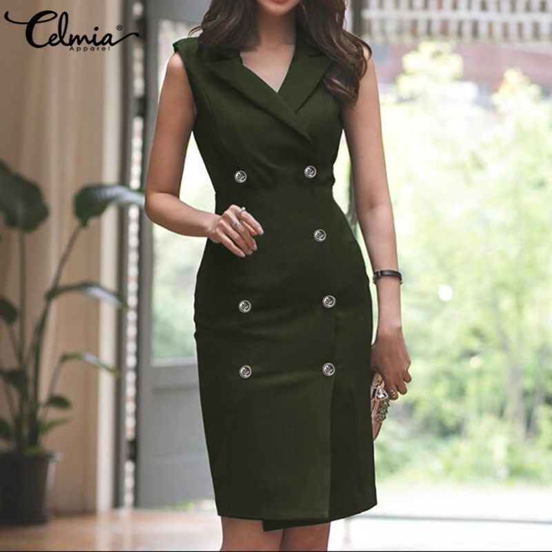 Plus Size Celmia Elegant Summer Women Suit Dress Turn-down Collar Office Sundress Sexy Double-breasted Casual Solid Vestidos 7