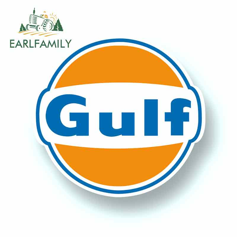 EARLFAMILY 13cm X 12cm For Gulf Logo Vinyl Sponsor Vinyl Car Wrap Creative Stickers Car Graphic Decal Repair Sticker Pull Flower