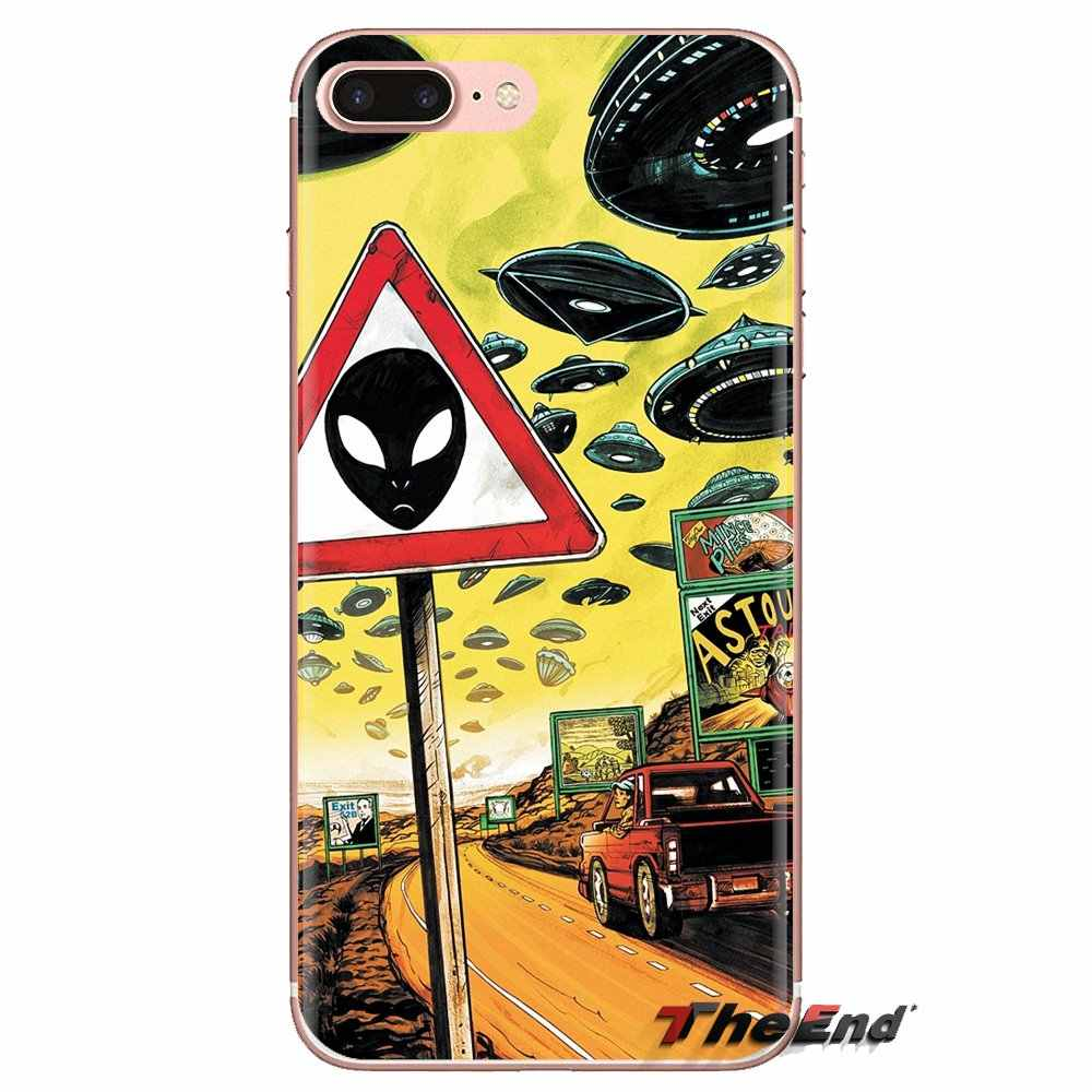 โปร่งใสครอบคลุม Funny Aliens ไอคอน Emoticon รูปแบบสำหรับ iPod Touch Apple iPhone 4 4S 5S SE 5C 6 6S 7 8 X XR XS Plus MAX