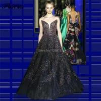 Black Arabic Beading Evening Dresses Crystal Prom Women Dress Abendkleider 2020 Aibye Dubai Couture Party Gowns kaftans Islamic
