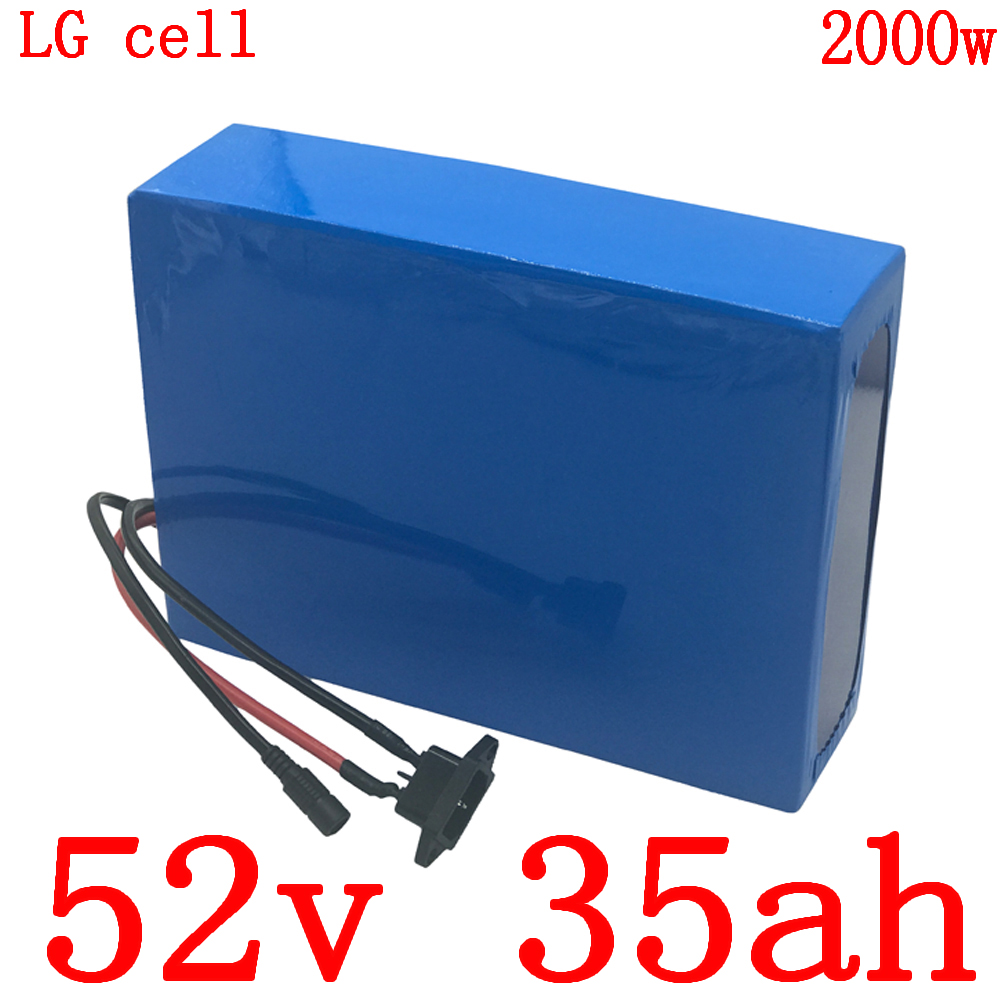 52V 1000W 1500W 2000W ebike battery 52V 35AH electric bike battery 52V 35AH Lithium battery use LG cell with 50A BMS +5A charger