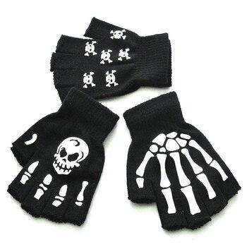 Nuevos guantes de invierno cálidos sin dedos para niños hombres mujeres luminosos Halloween esqueleto garra de fantasma negro elástico Accesorios