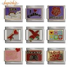 Hapiship pulseira original de 2018, 9mm de largura, margarida, café, amor, italiano, pulseira diy, fabricação de joias em aço inoxidável dj094