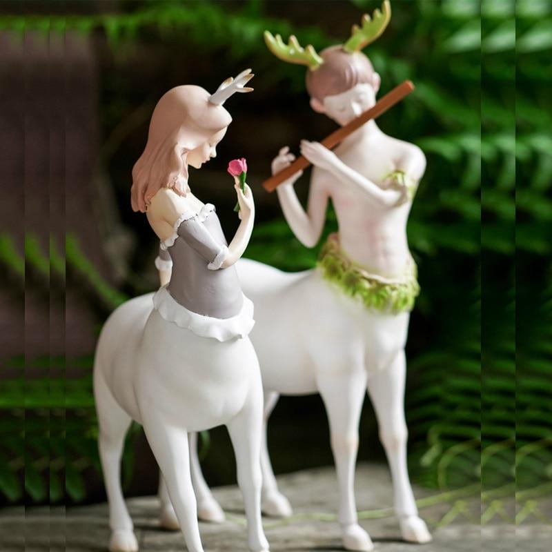 Couple cerf visage humain cerf corps Figurines miniatures Art créatif ornements décorations pour la maison salon jardin décoration