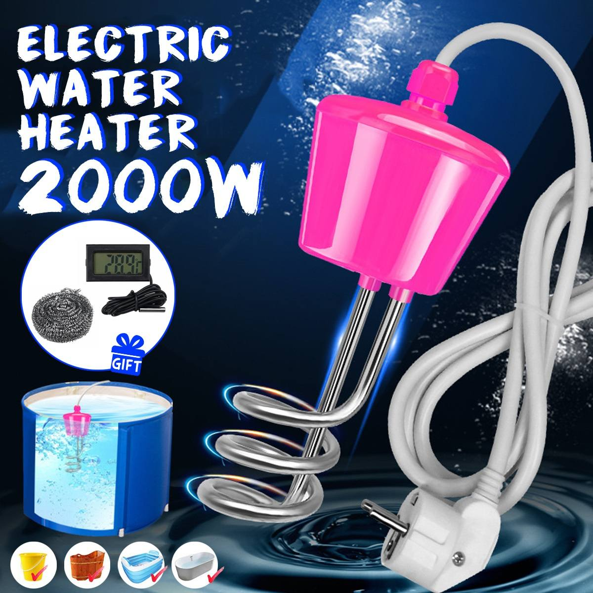 2000W Bathroom Swimming Pool Heater Floating Electric Heater Boiler Water Heating Portable Immersion Suspension EU 3 Meter Cable