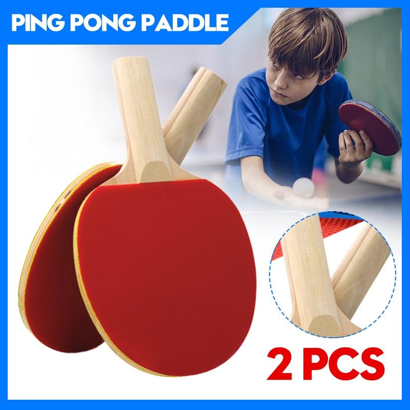 2pcs/lot Beginner Table Tennis Bat Racket Double Face Pimples In Long Short Handle Ping Pong Paddle Racket Set