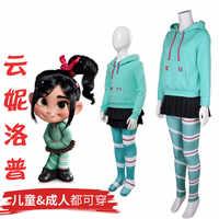 Kinder Mädchen der weiblichen kleid Wreck-It Ralph Hoodies cosplay Vanellope von Schweetz cosplay kostüm spiel Sugar Rush cosplay set