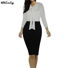 Women Bow V Neck Patchwork Casual Printed Office Midi Formal Stretch Pencil Work 3/4 Sleeve Body-con Sheath Party Dress