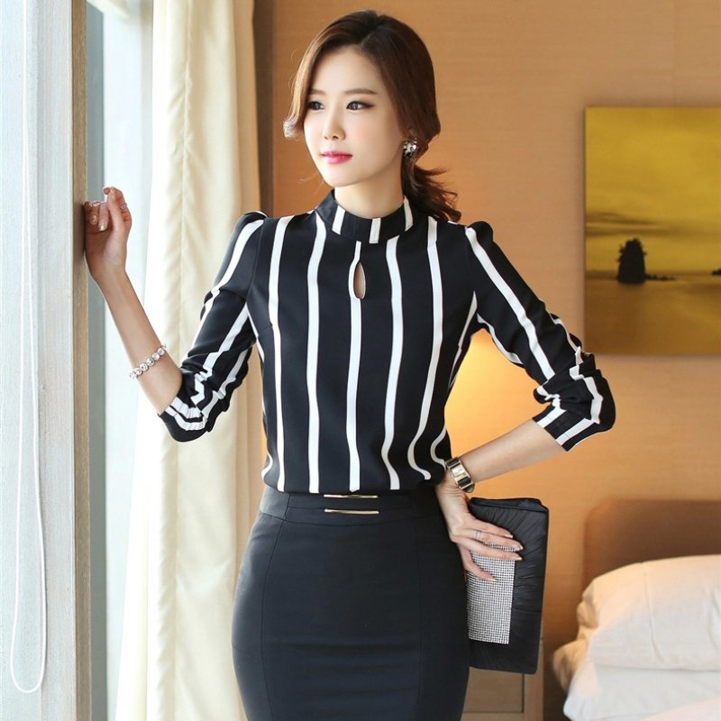 Women Korean Style Office Shirts Female Hollow Out Long Sleeve Striped Chiffon Blouse Hc