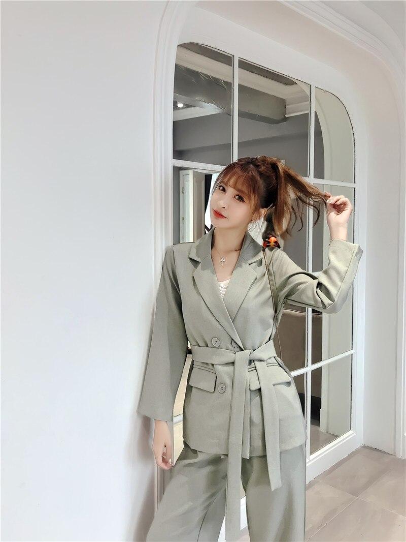 Casual 2 Pieces Set Autumn Winter  Women Lace Up Pant Suit Notched Blazer Jacket &  Office Wear Suits Female Sets