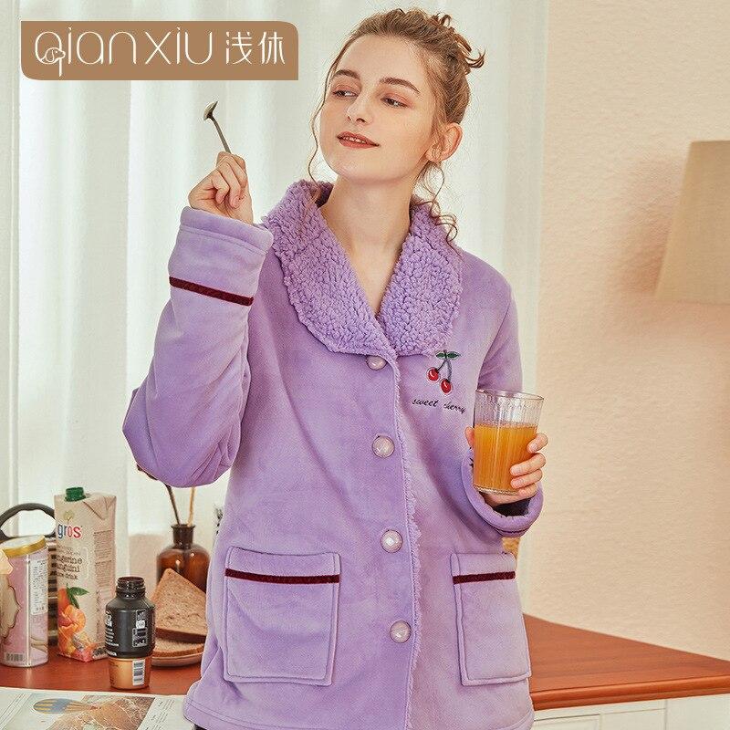 Lindo patrón de cereza pijamas de franela de invierno conjunto para mujeres de tela de felpa Cárdigan para dormir pijamas de mujer traje de ropa de casa