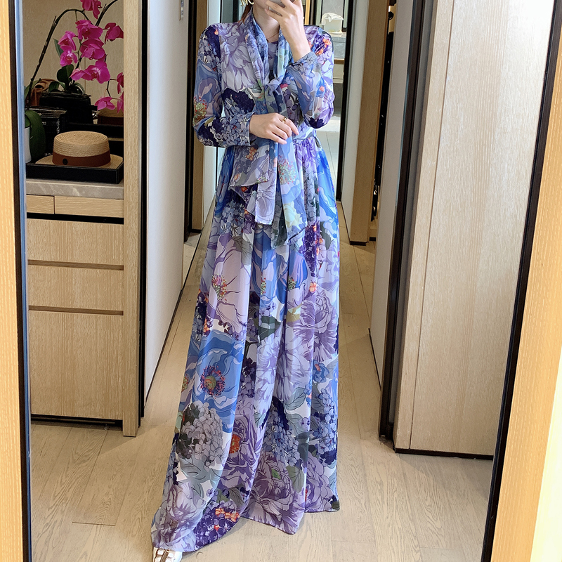 Bohemian Retro Print Floral Party Round Neck Long Sleeve Long-Sleeved Belt Elegant Dress Long Women'S Clothing New High-Quality