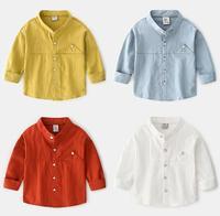 Summer Kids Boys Shirt Solid Long Sleeve Baby Girls Shirts Autumn Cotton Children's Stitching Shirt V neck Tops Boy Cloth ZL199