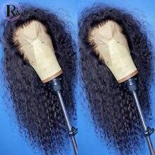 Parrucche per capelli umani frontali in pizzo rulsec parrucche di pizzo per capelli Remy brasiliani ricci con parte a T di colore naturale con capelli per bambini
