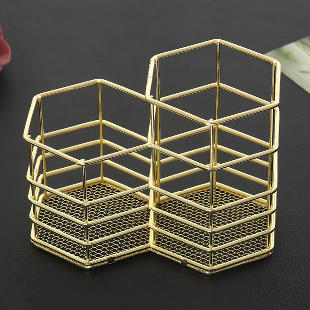 New Rose Gold Hollow Pen Holder Storage Container Table Organizer  4