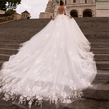 Adoly Mey Gorgeous Flowers Appliques Royal Train A-Line Wedding Dress 2020 Charming Scoop Neck Long Sleeve Princess Bridal Gown