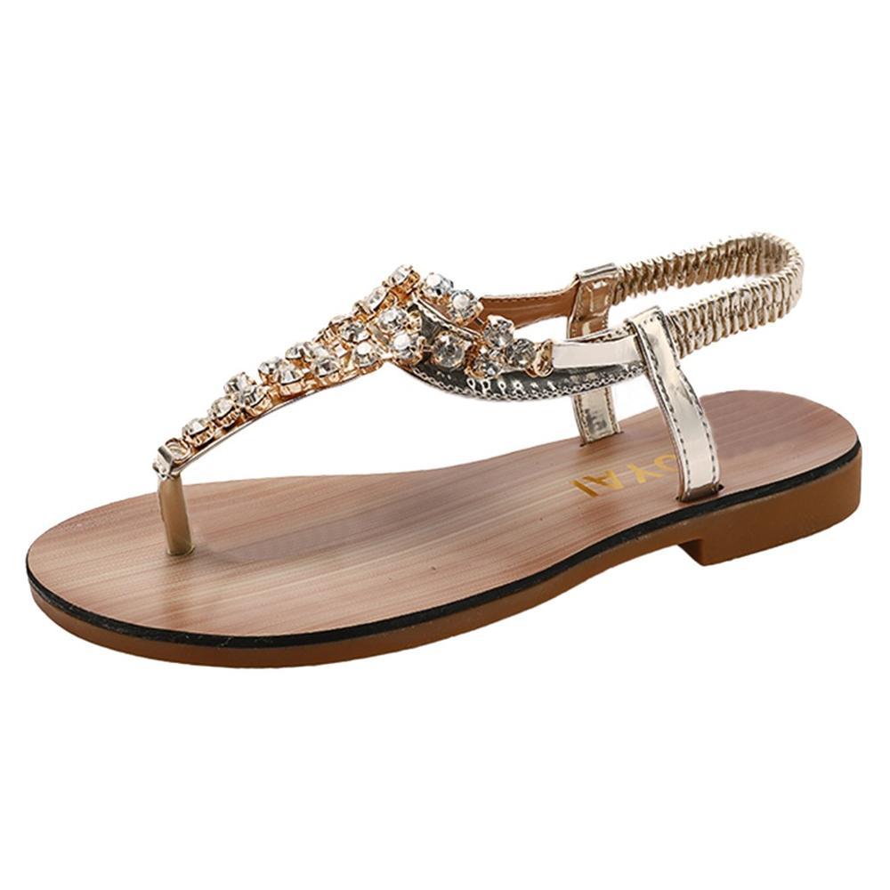 Summer Women Outside Solid Rhinestones Pinch Sandals Summer Rome Wild Set Foot Flat Beach Walk Shoes Crystal Element Apr 12