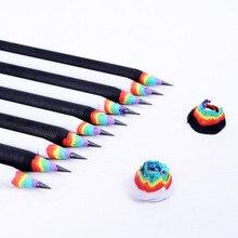 Набор черно-белых деревянных радужных карандашей, школьные и офисные канцелярские принадлежности, подарки для детей, Обучающие принадлежн...