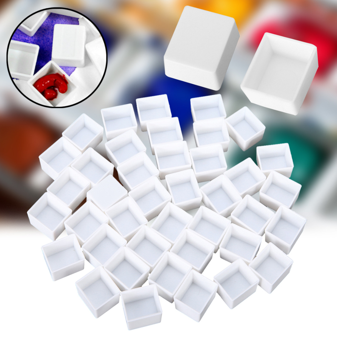 10/40pcs Empty Full/Half Pan White Half Pans Paint Plastic Water Colour Paint Grid Half Pans Artists Palette Art Supplies