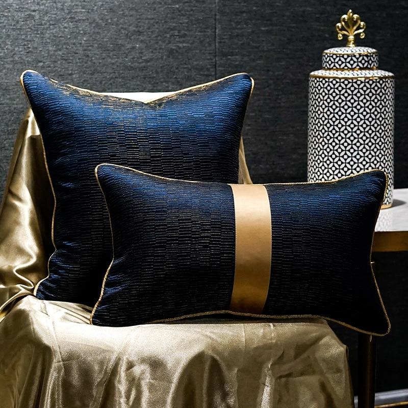 Luxury Blue Gold Cushions Car Pillow Decorative Cushion Simple Cushion Cover Office Nordic Jacquard