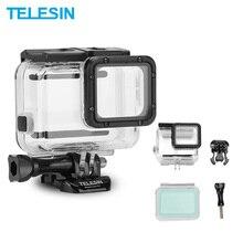 TELESIN 45 متر تحت الماء الإسكان مقاوم للماء + اللمس غطاء ل Gopro بطل 5/ 6 بطل 7 الأسود كاميرا الملحقات