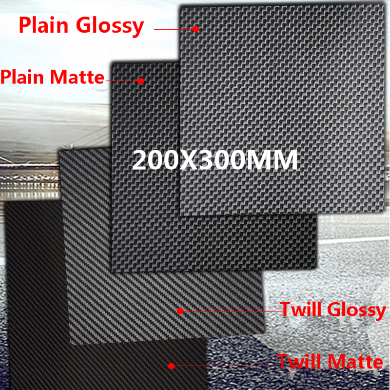 1pc 200mm X 300mm 3k <font><b>Carbon</b></font> <font><b>Fiber</b></font> Plate Panel <font><b>Sheets</b></font> 0.2mm 0.5mm 1mm 1.5mm 2mm 3mm <font><b>4mm</b></font> 5mm thickness Composite Hardness Material image