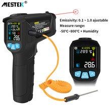 Thermomètre laser infrarouge sans contact, avec écran LCD couleur et alarme, pyromètre, hygromètre numérique