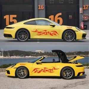 Image 2 - מכונית פס מדבקות צד גוף ארוך פס ויניל להבת מדבקות קישוט מדבקות לרכב מדבקות חדש