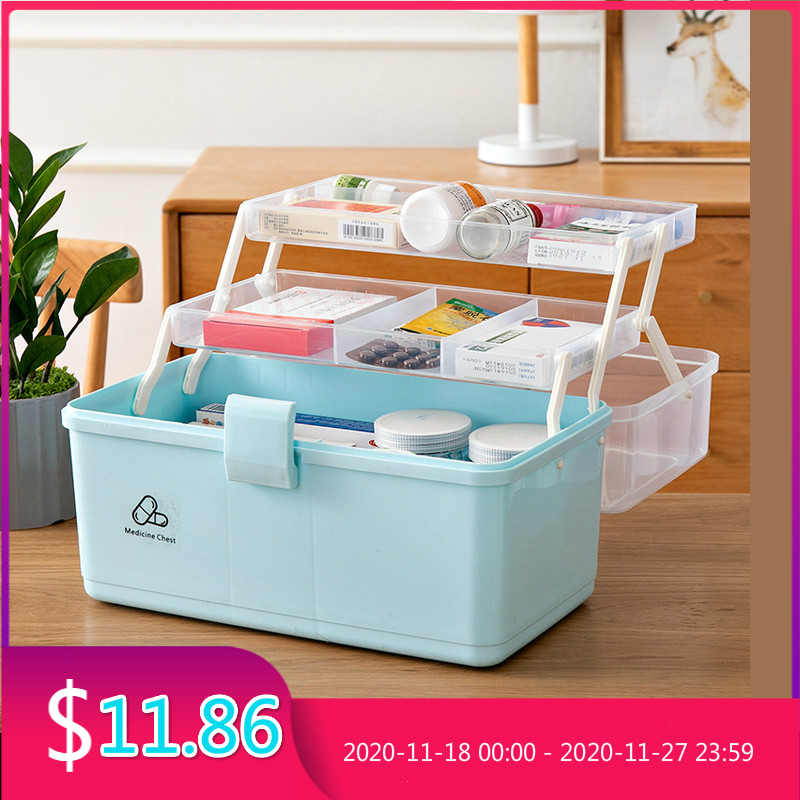 Clearance SaleFirst-Aid-Kit Medicine-Cabinet Drug Multi-Functional Emergency-Kit Plastic Portable Box