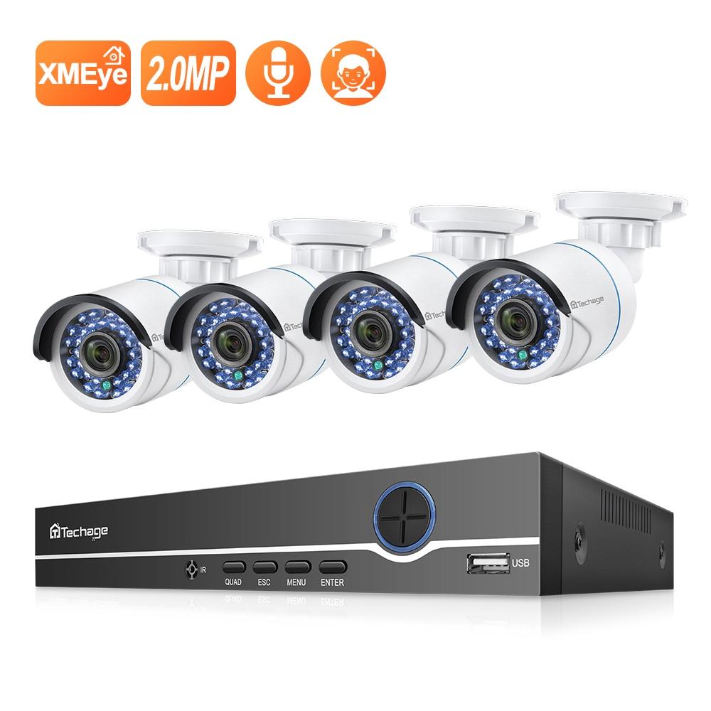 Techage 8CH 1080P NVR комплект POE безопасности наружная Водонепроницаемая камера система 2MP аудио IP Камера IR Cut CCTV комплект видеонаблюденияСистема наблюдения    АлиЭкспресс