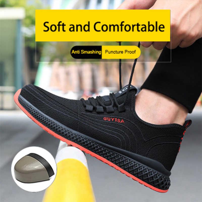 Güvenlik ayakkabıları erkek iş çizmeleri hafif nefes yumuşak çelik ayak Anti Smashing açık havada fabrika rahat güvenlik ayakkabıları kadın
