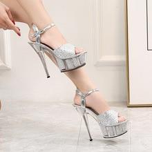 Женские сандалии-гладиаторы с ремешком на щиколотке и блестками, туфли-лодочки на очень высоком каблуке 14,5 см, летние сандалии на платформе ...