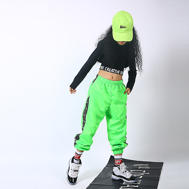 Children Jazz Dance Costumes Black Tops Loose Trousers Suit Hip Hop Clothing For Girls Stage Performance Clothing Suit DQS2909